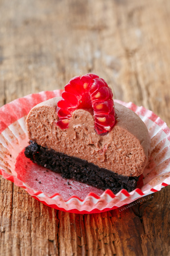 No-Bake Chocolate Raspberry Mousse Tartlets from @loveandoliveoil