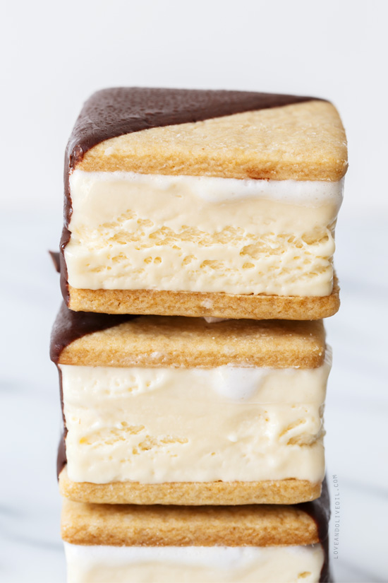 Chocolate-Dipped S'Mores Ice Cream Sandwiches from @loveandoliveoil