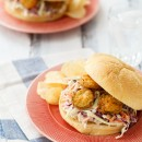 Summer Slaw Sandwiches with Fried Pickles from @loveandoliveoil