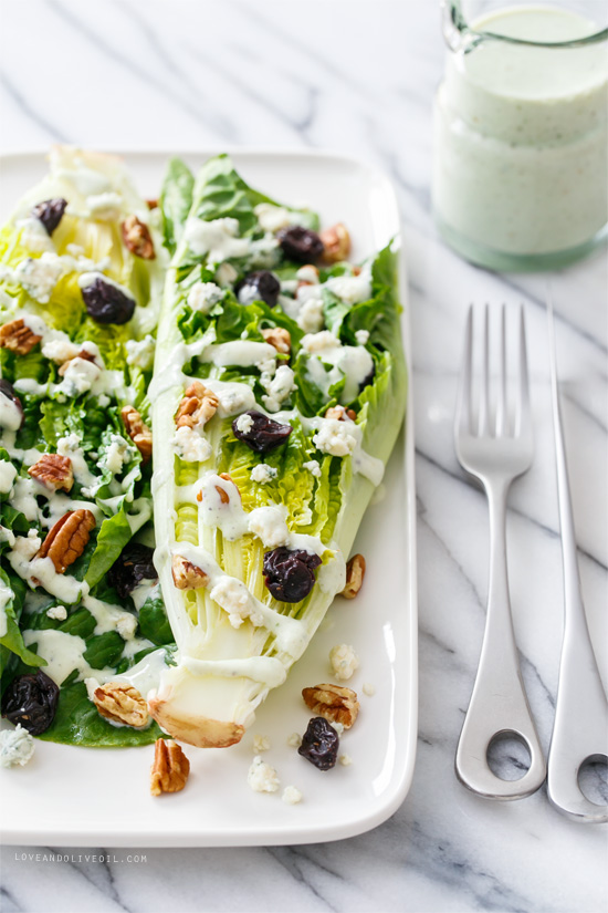 Wedge Salad with Buttermilk Black Pepper Dressing from @loveandoliveoil