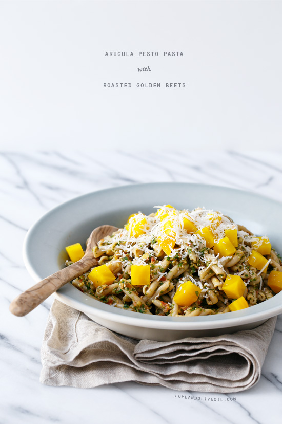 Arugula Pesto Pasta with Roasted Golden Beets from @loveandoliveoil