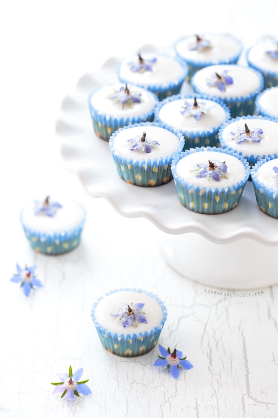 Almond Fairy Cakes with Candied Borage Flowers from @loveandoliveoil