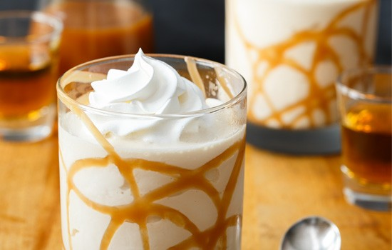 Bourbon Salted Caramel Milkshakes for #MilkshakeWeek from @loveandoliveoil