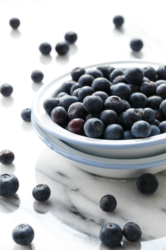 Freshly Picked Blueberries from www.loveandoliveoil.com
