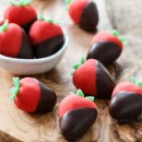 Chocolate-covered Marzipan Strawberries from @loveandoliveoil