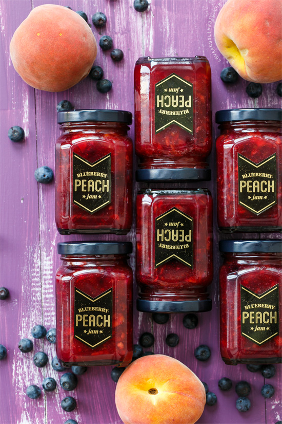 Blueberry Peach Jam from www.loveandoliveoil.com