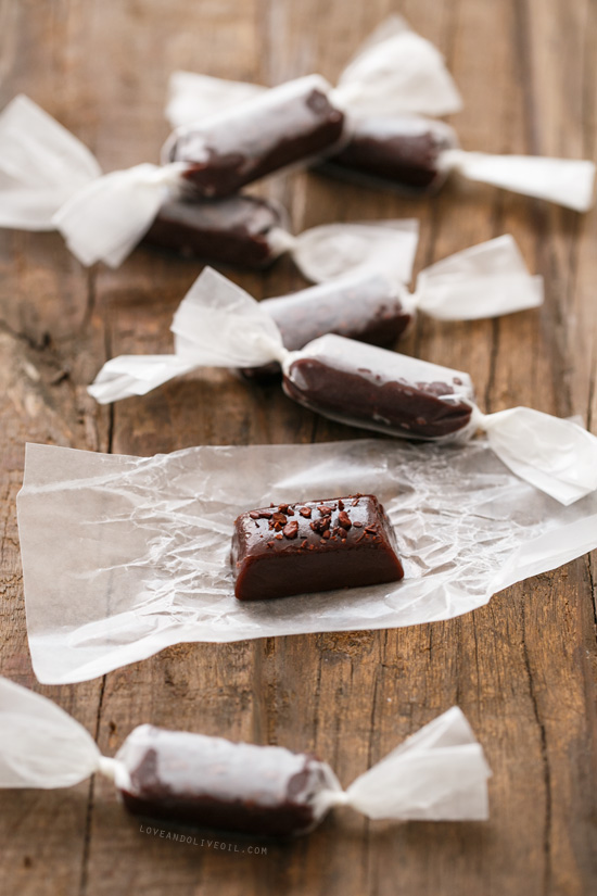 Dark Chocolate Cocoa Nib Caramels from www.loveandoliveoil.com