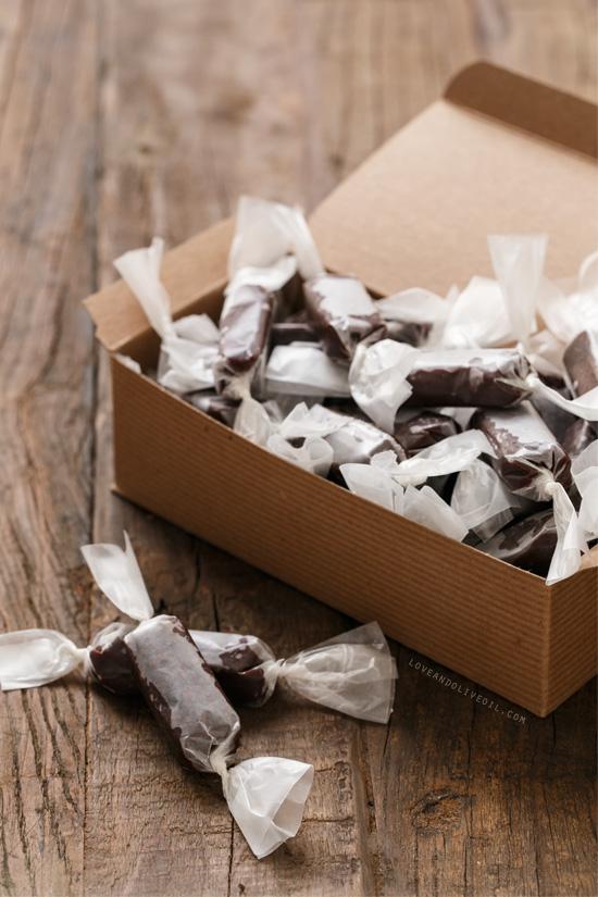 Dark Chocolate Cocoa Nib Caramels from www.loveandoliveoil.com