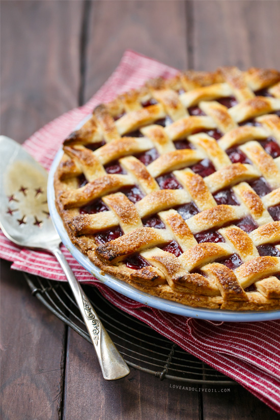 Tart Cherry Pie with Lattice Top from www.loveandoliveoil.com