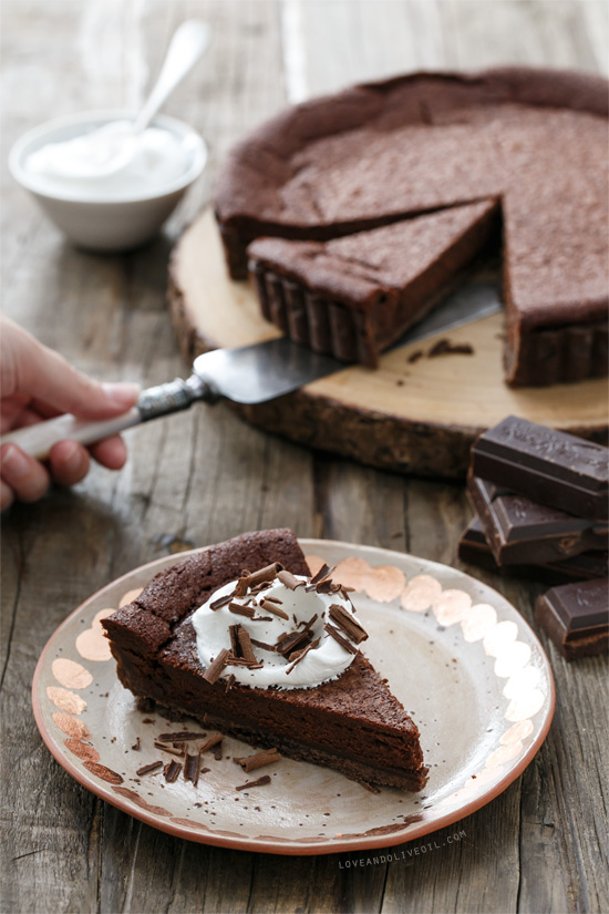 Bittersweet Chocolate Bourbon Tart from www.loveandoliveoil.com