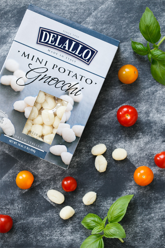 Delallo Mini Gnocchi for Warm Gnocchi and Heirloom Tomato Salad
