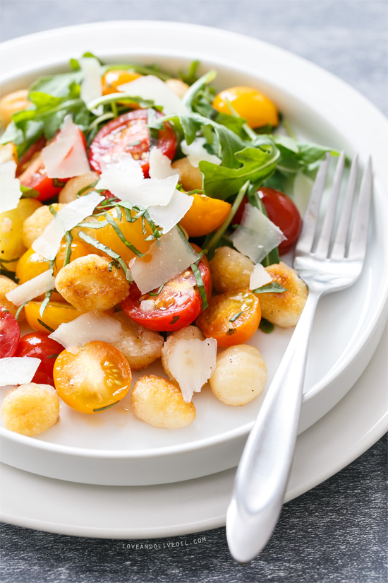 warm gnocchi and heirloom tomato salad love and olive oil