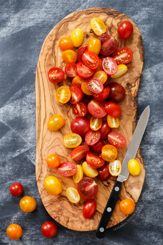 Heirloom cherry tomatoes for Warm Gnocchi Salad