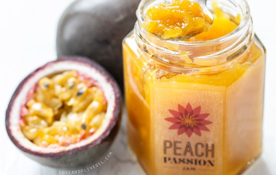 Peach Passion Jam with fresh peaches and passionfruit