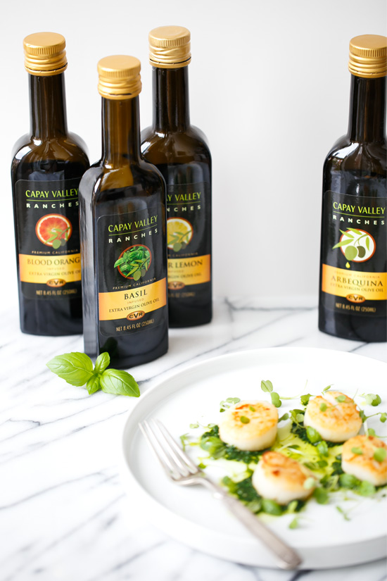 Seared Scallops with Basil Olive Oil Pistou featuring Capay Valley Ranches Gourmet Olive Oil