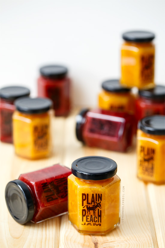 Homemade Peach and Plain Strawberry Jam (plus FREE printable labels for your jars!)