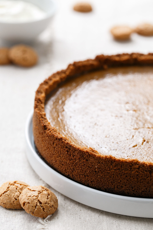 The Amaretti Cookie Crust (OMG) makes this Amaretti Pumpkin Pie Recipe OUT OF THIS WORLD!