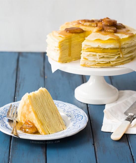 Bananas Foster Crepe Cake from the Breakfast for Dinner cookbook