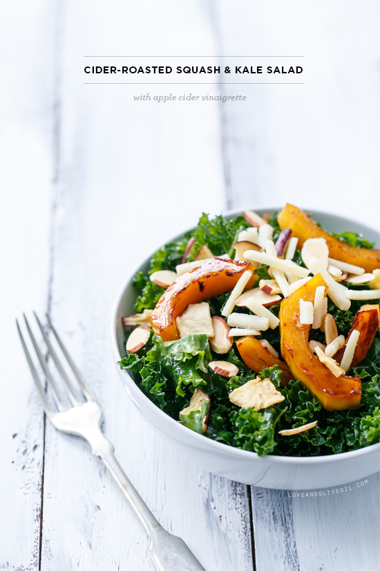 Cider-Roasted Squash & Kale Salad with Apple Cider Vinaigrette