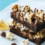 Ultimate Junk Food Brownie Recipe with popcorn, potato chips, peanut butter cups.