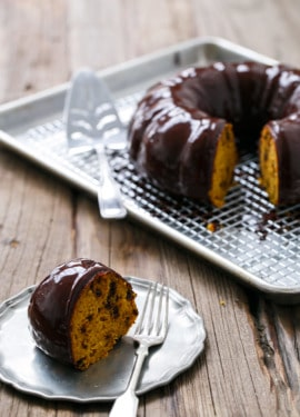 This Pumpkin Chocolate Chip Bundt Cake is a perfect non-pie Thanksgiving dessert!