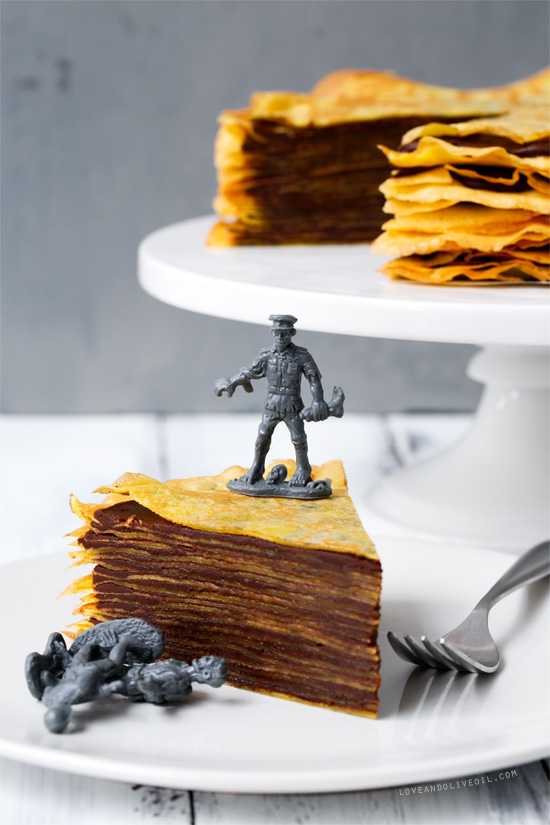 Bourbon Crepe Cake with Bourbon Caramel Chocolate Ganache
