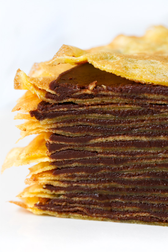 Bourbon Mille-Crepe Cake with Bourbon Caramel Chocolate Ganache