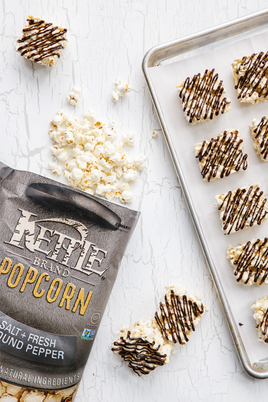 Salt & Pepper Popcorn Bars with Dark Chocolate Drizzle