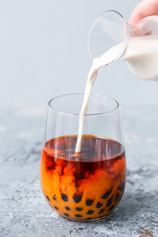 Thai almond milk bubble tea love and olive oil for California iced tea recipe