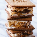 Goo Goo Cluster S'mores with Homemade Graham Crackers and Marshmallows