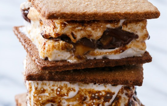 Goo Goo Cluster S'mores with Homemade Graham Crackers