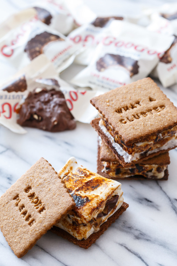 Homemade Goo Goo Cluster S'mores with Homemade Graham Crackers recipe