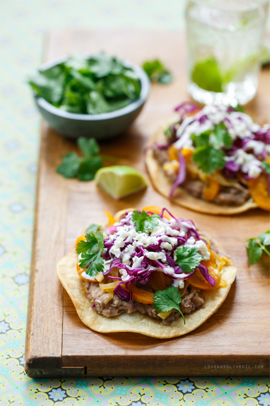 Vegetable and bean tostadas love and olive oil vegetarian pinto bean tostadas forumfinder Choice Image