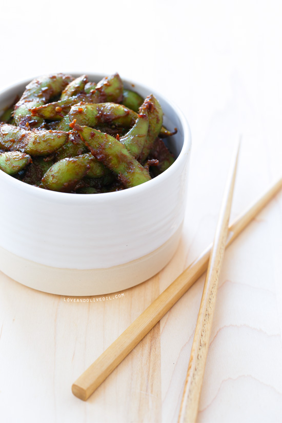 Spicy Miso Edamame | Love and Olive Oil