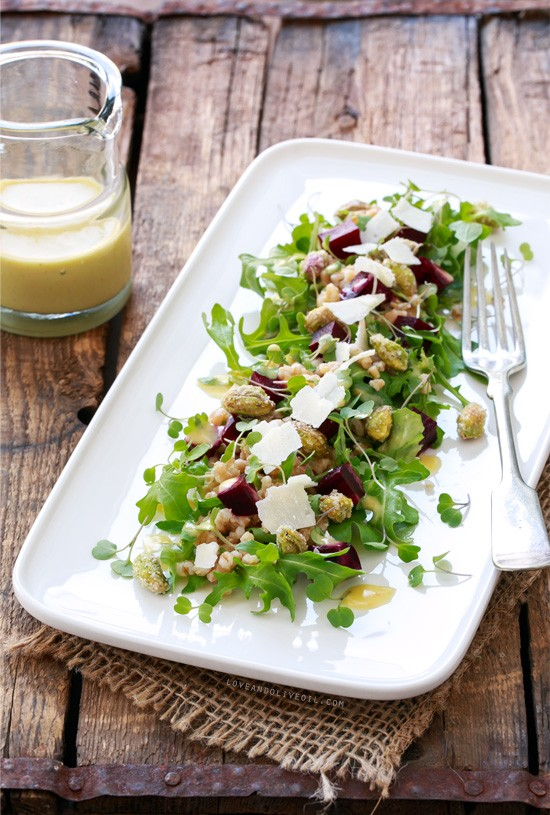 Roasted Beet and Farro Salad with Citrus Vinaigrette | Love and Olive ...