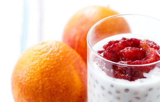 Coconut Tapioca Pudding with Sliced Blood Orange and Raw Sugar Crunch