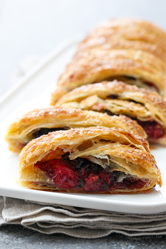 Chocolate and Tart Cherry Danish Twist Breakfast Pastry