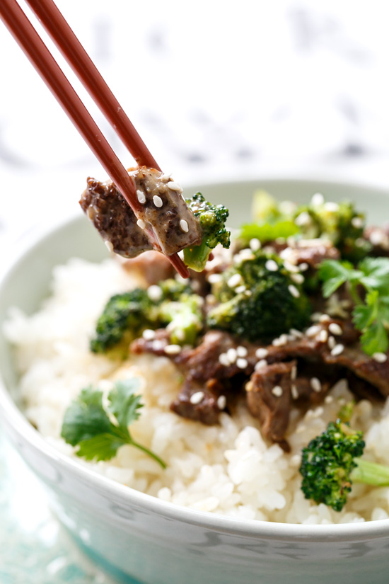 Coconut Beef & Broccoli Stir Fry Rice Bowls