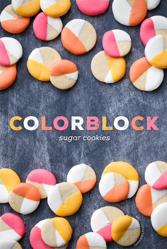 Colorblock Sugar Cookies - Lemon Sugar Cookies Dipped in Colored Candy Coating