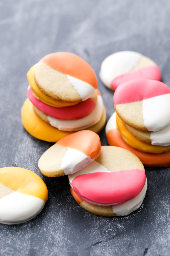 Colorblock Sugar Cookies - Lemon Sugar Cookies Dipped in Colored Candy Coating