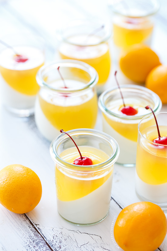 Layered Sparkling Meyer Lemon & Passionfruit Panna Cotta