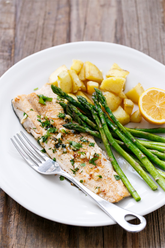 Pan-Fried Trout with Garlic, Lemon, & Parsley | Love and Olive Oil