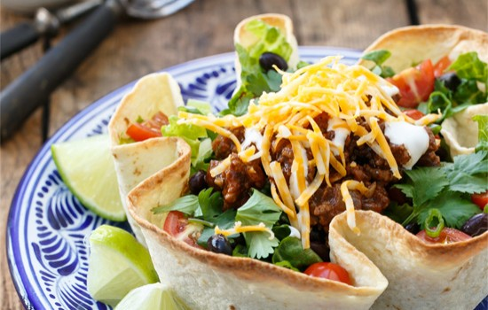 Beef Taco Salad with Homemade Tortilla Bowls