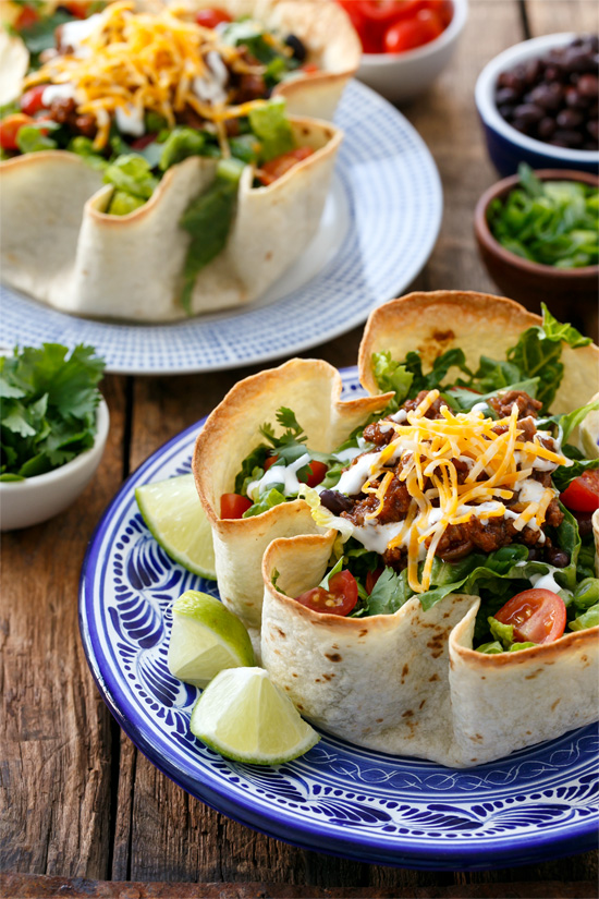 Beef Taco Salad with Homemade Tortilla Bowls | Love and Olive Oil