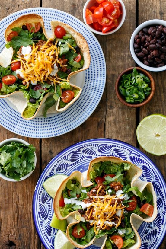 Beef Taco Salad with Homemade Tortilla Bowls
