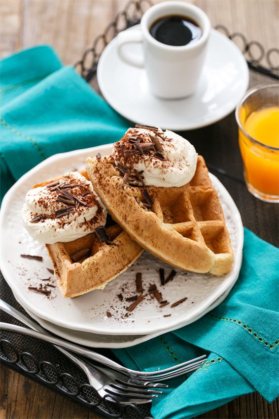 Tiramisu Waffles with Mascarpone Filling