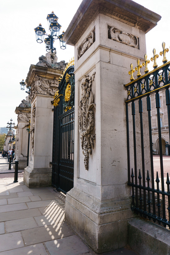 The gates at Buckingham Palace, London