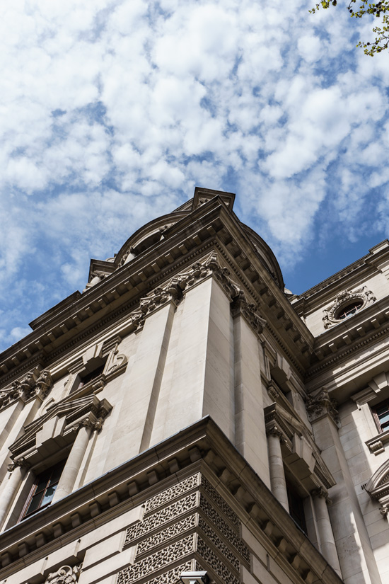 Looking up in London, England
