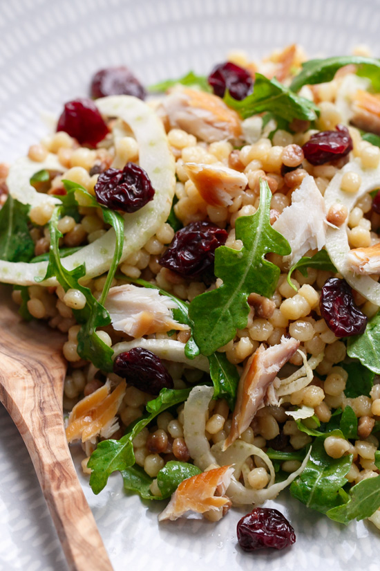 Cold Fregula Sarda Salad with Tart Cherries and Smoked Trout