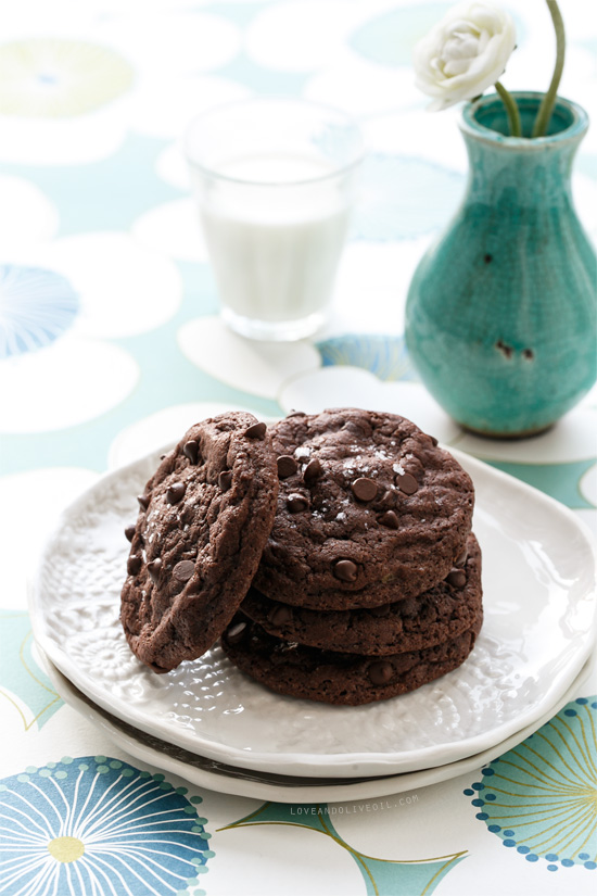 Double Chocolate Peanut Butter Stuffed Cookies with Sea Salt